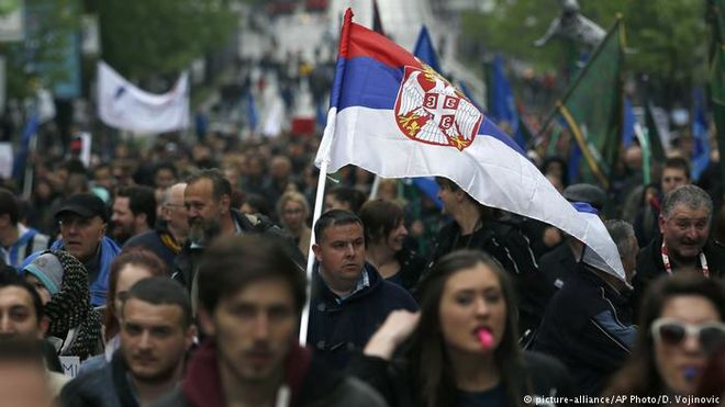 Демонстрация в столице Сербии собрала 10 тысяч человек