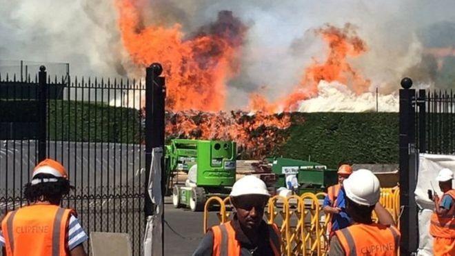На теннисных кортах Уимблдона произошел пожар