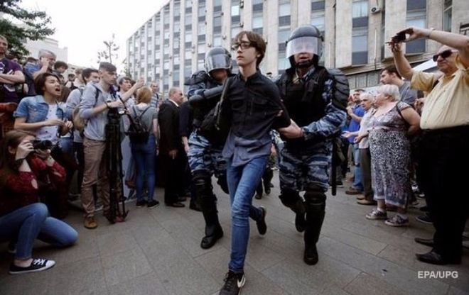 В Москве арестовали школьника за участие в протестах