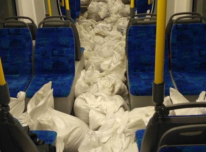 Хохма дня: вКиеве нановеньких трамваях прокатили «мешки сконтрабандой»