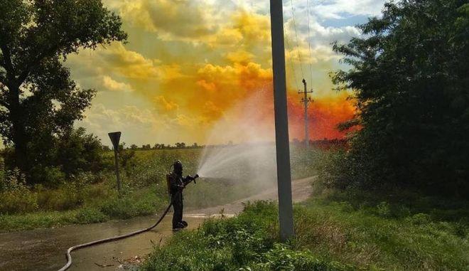 В Днепропетровской области произошла масштабная утечка азотной кислоты